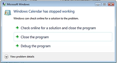 Vista Calendar Crash
